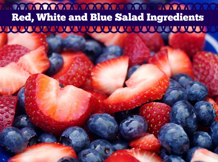 Red, White and Blue Salad Ingredients