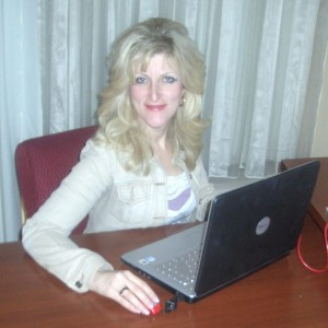 Older Blonde Woman on Computer Internet