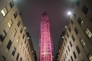 Rockfeller Center NYC pink breast cancer awareness Estee Lauder 2010