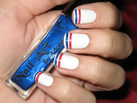 Blue and Red Stripe on White Fourth of July