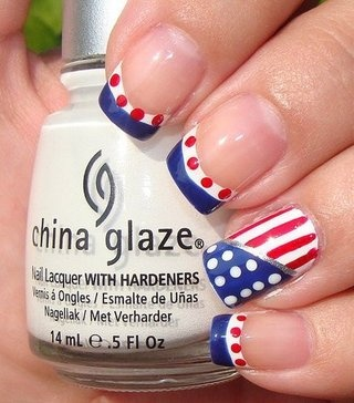 Polka dot Stripe Fourth of July Manicures