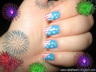 red White and Light blue fourth of july Manicures