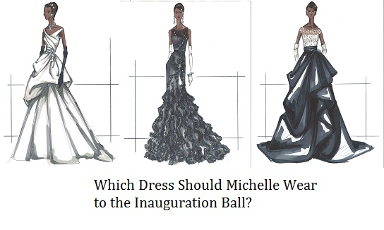 Michelle Obama Inaugural Dress trio