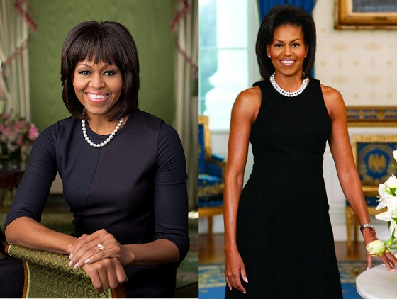 Michelle Obama Official Portrait 2013 2009 Arms and Bangs