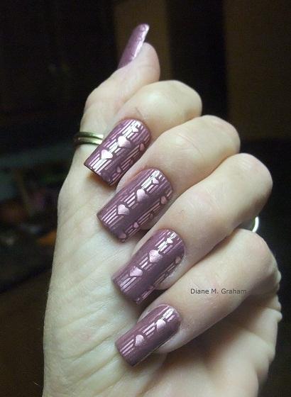 Valentine Manicure Sentimental Stamped Hearts 2