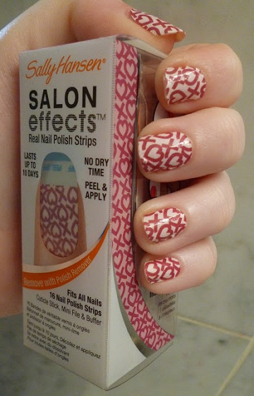 Valentine Manicures sally hansen salon effects nail stickers cross my heart valentine's day nail ideas
