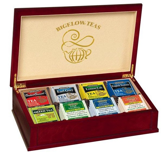 filled tea chest