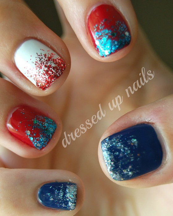 color and sparkle fourth of July Manicure dress up nails