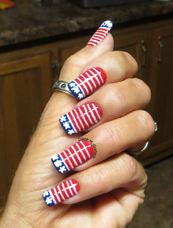 raise flag Fourth of July Manicure Custom Nail solutions