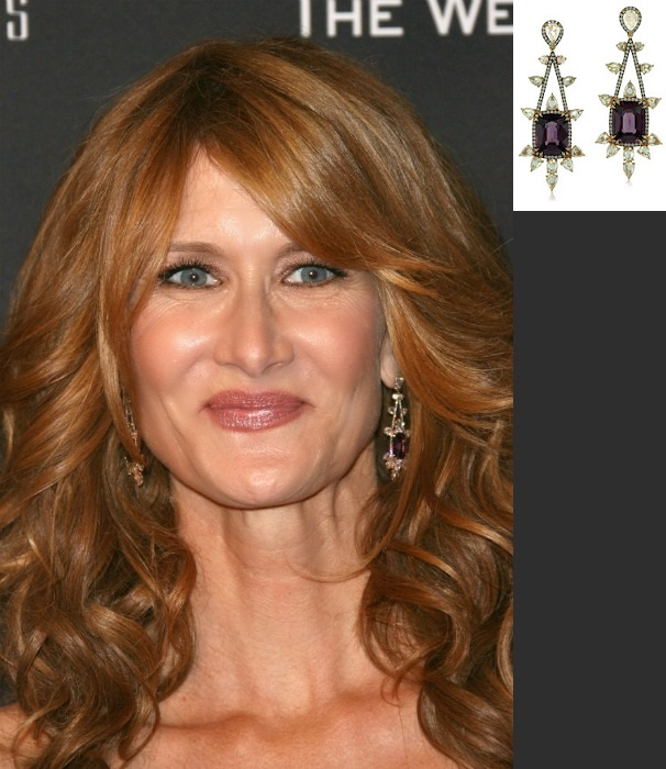 Laura+Dern Ivy spinel Diamond earrings Golden Globes
