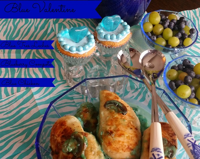 Blue Valentine Recipes! Blue Chicken + Blue Tres Leches Cupcakes