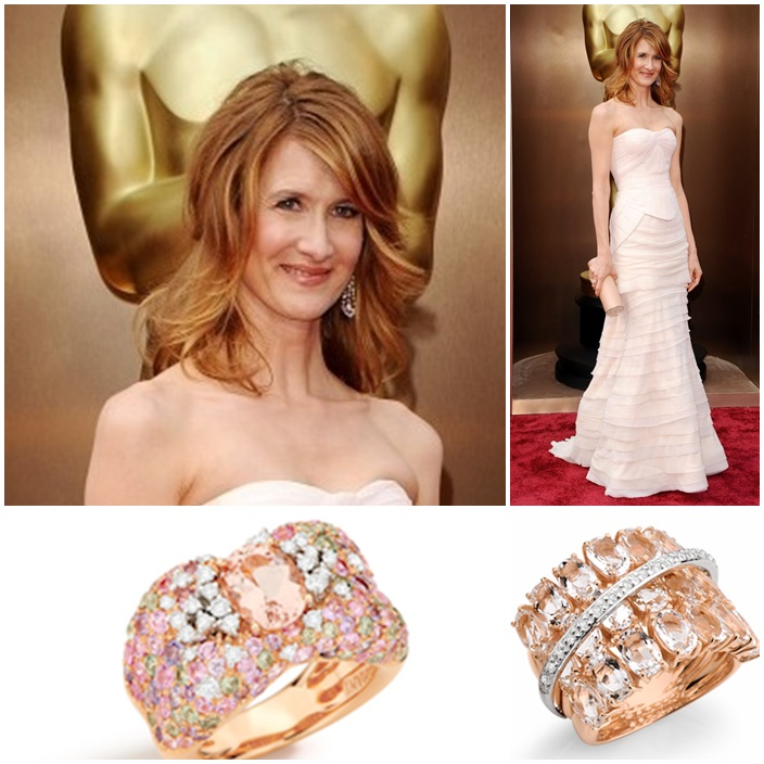 Laura Dern Brumani Panache Diamond, Morganite, and Sapphire Ring