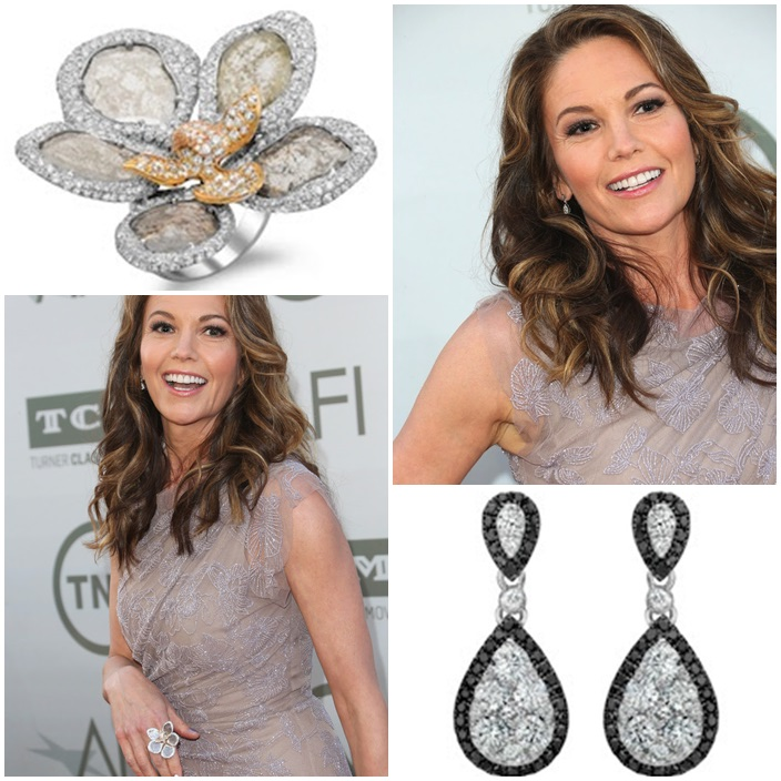 Diane Lane Demarco diamond ring  Le Vian diamond earrings