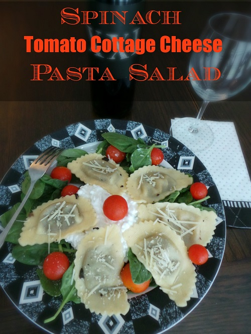 Spinach Tomato Cottage Cheese Pasta Salad