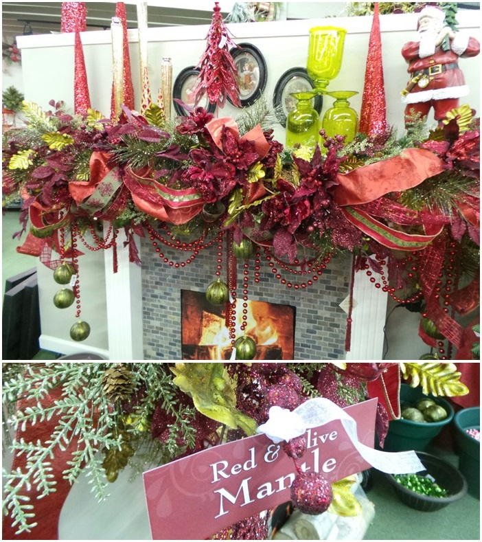 Beautiful Christmas Mantel Decor Red & Olive
