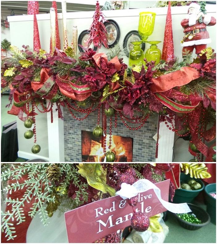 Beautiful Christmas Mantel Decor Red & Olive