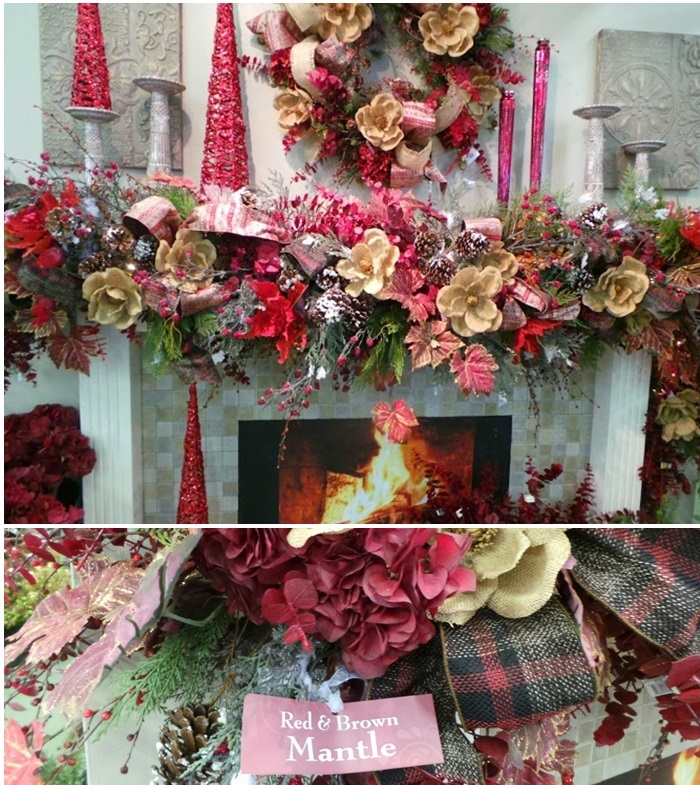 Beautiful Christmas Mantel Decor Red and Brown