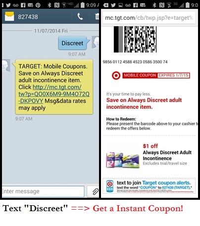Screenshot of Discreet Mobile Coupon