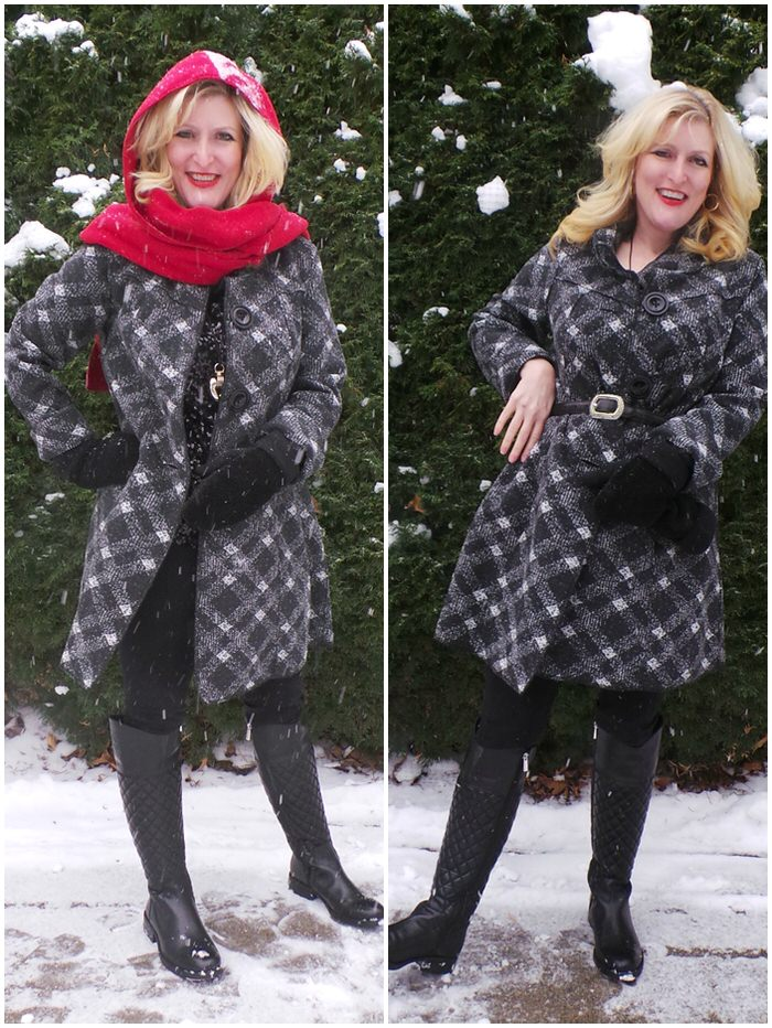 Janska Becca Plaid Coat Sherpa Mittens Hood scarf Vince Camuto Quilted Leather Boots