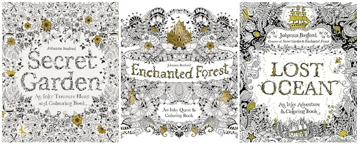 Bashford Secret Garden, Lost Ocean, Enchanted Forest, An Inky Adventure and Coloring Book Top Adult Coloring Books