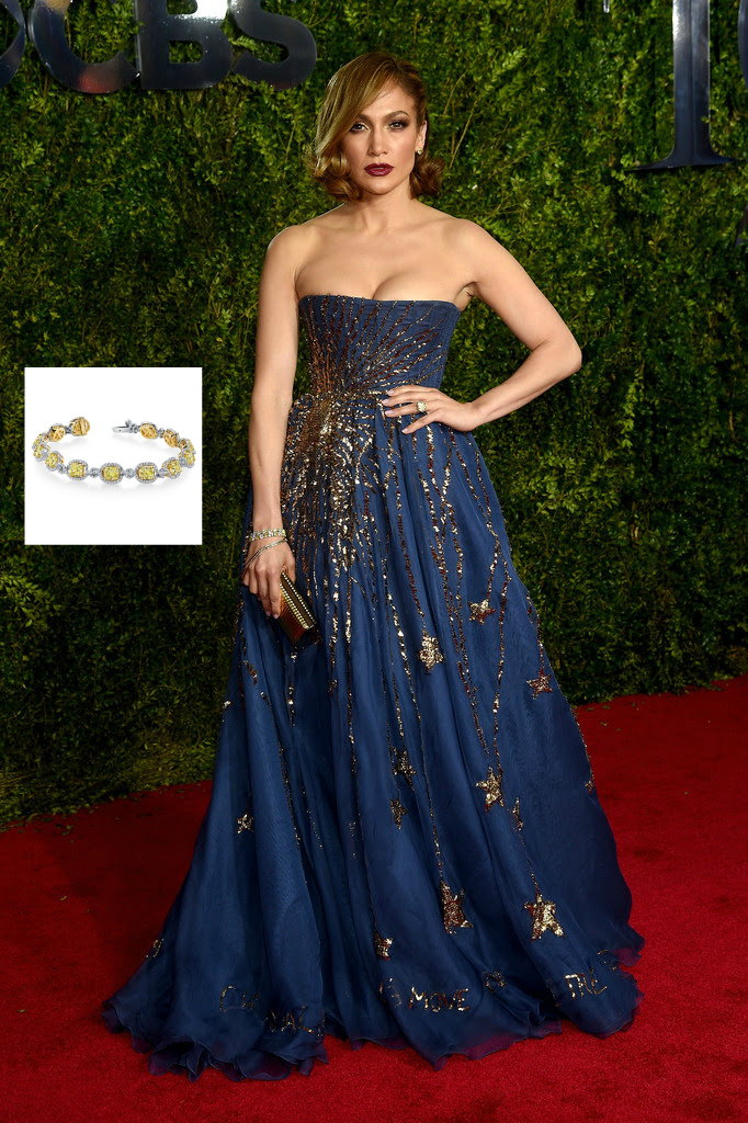 Jennifer Lopez Hairstyles Harry Kotlar diamond bracelet 2015 Tony Awards Radio City Music Hall