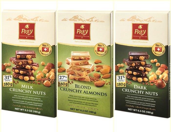 Chocolat Frey Crunchy Nuts bars