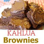Kahlua Fudge Brownies with Salted Caramel Hazelnut Frosting