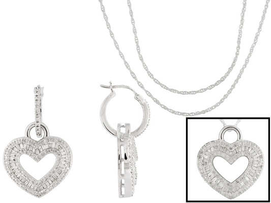 .95ctw Round & Baguette Diamond Rhodium Over Silver Heart Earrings Converts To Pendant With 2 Chains
