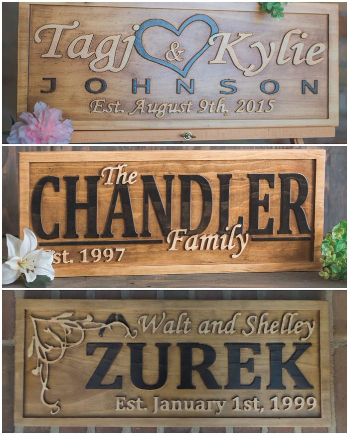 Callahan Creations Personalized Wood Carved Family Name Signs