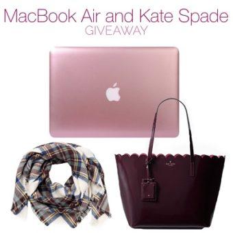 Apple MacBook Air, Kate Spade Tote , Blanket Scarf