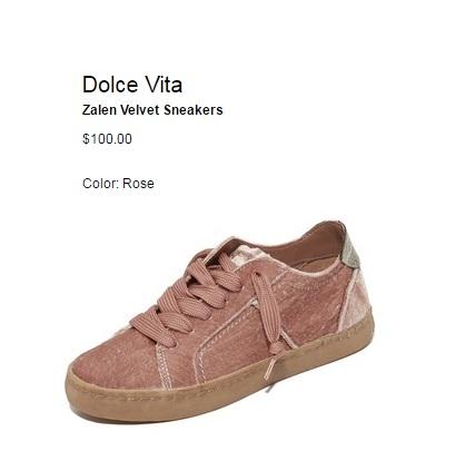 Dolce Vita Zalen Velvet Cute pink sneakers