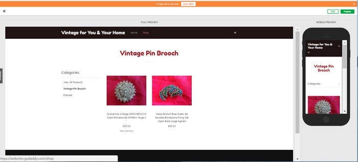 How to set up an Online Vintage Store and Have it Open in 3 hours Category page Godaddy GoCentral Website builder
