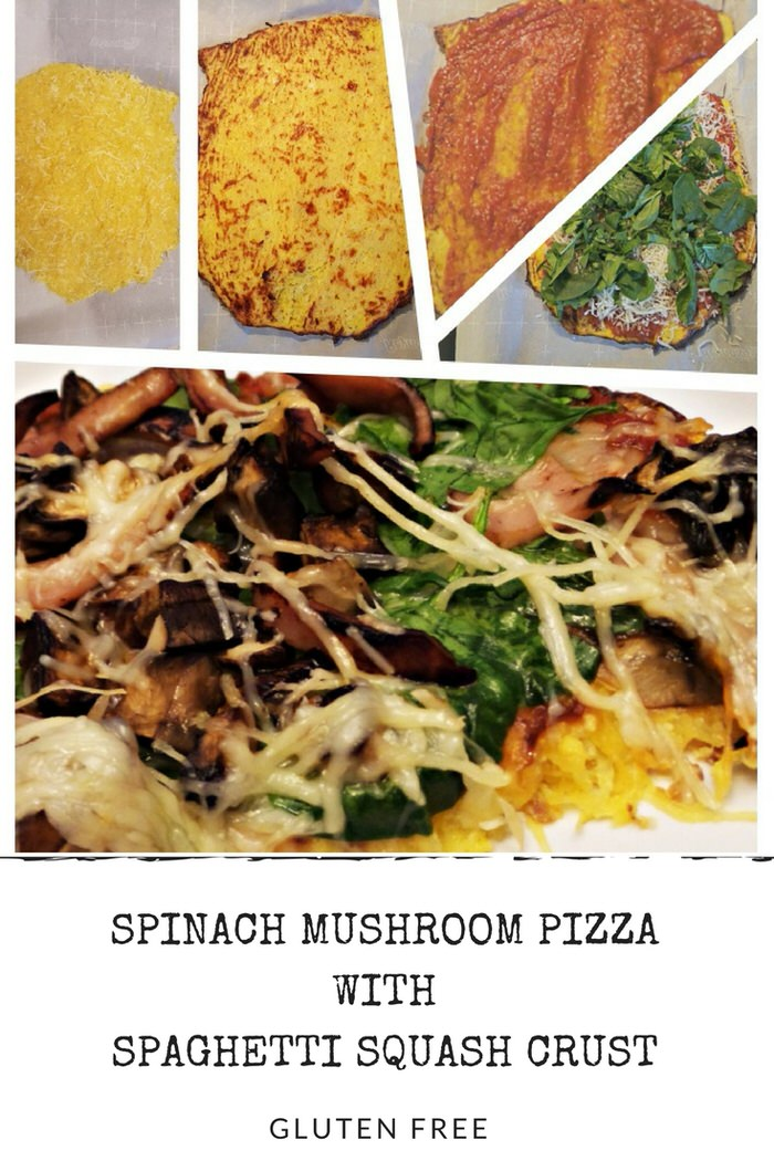 Spinach Mushroom Pizza with Spaghetti Squash Crust Recipe