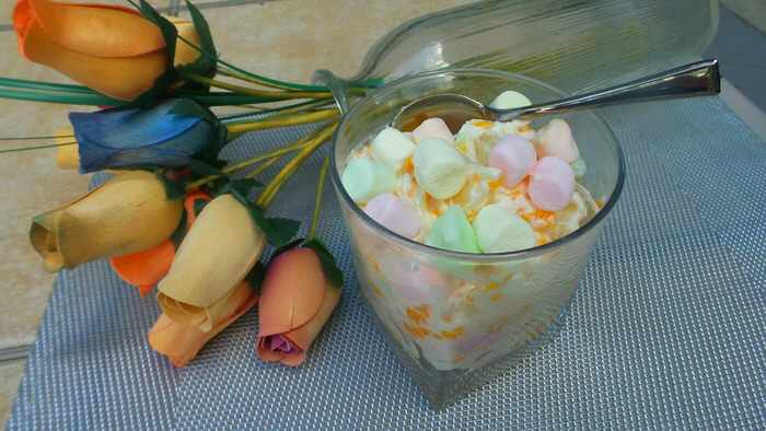 Grandma's Super Simple 5 cup Dessert Sour Cream Dessert Ambrosia Dessert