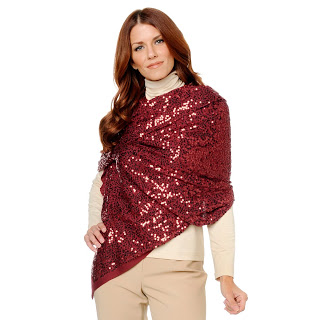 Iman Global Chic Knit Sequin Wrap, red