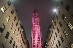 Rockfeller Center NYC pink breast cancer awareness Estee Lauder 2010