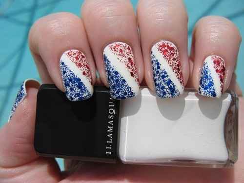 Bold White Stripes with Powerful Speckles Fourth of July Manicures