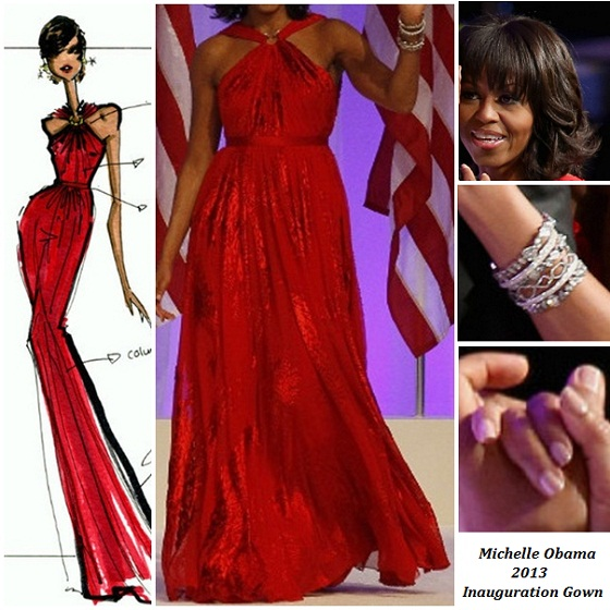 michelle Obama Inaugural Gown Red Jason Wu 2013 Inauguration Collage