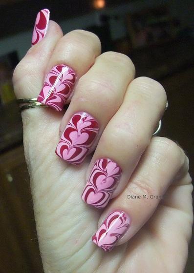Valentine Manicure Water Marble
