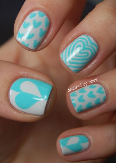 Valentine Manicure turquoise-and-white-hearts-nail-art