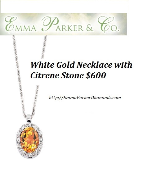White Gold Necklace with Citrene Stone Emma Parker Diamonds