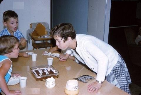 Birthday Cake around Grandma's Table