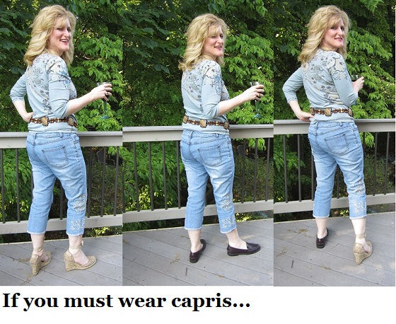 7f86fb2de5f Summer Style Secrets If you must wear Capris. The Chief Blonde contrasts  capris with ...