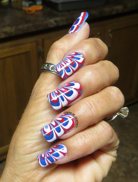 Marble Fourth of July Manicure Custom Nail solutions