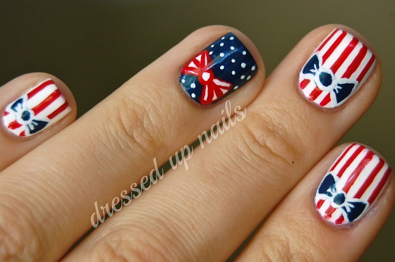 Red White and Blue Bows fourth of July Manicure dress up nails
