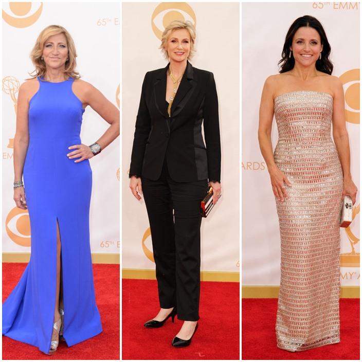 Emmy Style Edie Falco 50 Jane Lynch 53 julia Louis-drefus 52