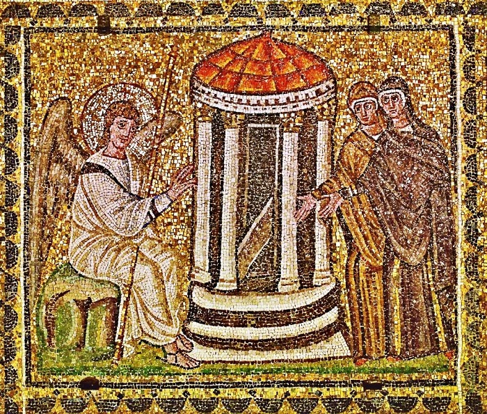unknown artist the myrrh bearing women at the Easter Empty tomb basilica di antapollinare nuovo ravenna italy 6th century