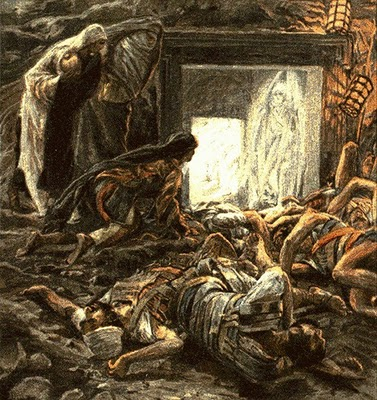 Mary Magdalene and the Holy Women at the Easter Empty  Tomb Tissot Easter Empty