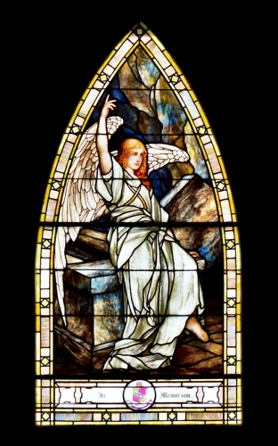 Angel, Easter empty tomb jesus stained glass tiffany window