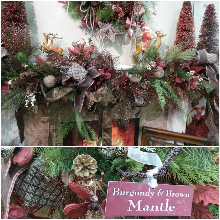 Beautiful Christmas Mantel Decor Burgandy and Brown